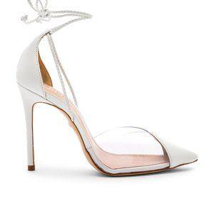 Schutz Vanuza White Transparent Ankle Tie Heels